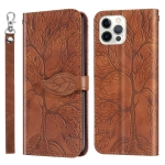Life of Tree Embossing Pattern Horizontal Flip Leather Case with Holder & Card Slot & Wallet & Photo Frame & Lanyard For iPhone 12 Pro Max(Brown)
