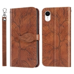 Life of Tree Embossing Pattern Horizontal Flip Leather Case with Holder & Card Slot & Wallet & Photo Frame & Lanyard For iPhone XR(Brown)