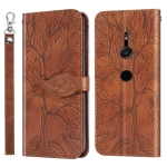 For Sony Xperia XZ2 Life of Tree Embossing Pattern Horizontal Flip Leather Case with Holder & Card Slot & Wallet & Photo Frame & Lanyard(Brown)