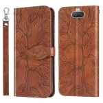 For Sony Xperia 8 Life of Tree Embossing Pattern Horizontal Flip Leather Case with Holder & Card Slot & Wallet & Photo Frame & Lanyard(Brown)