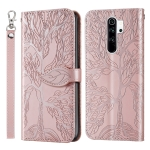 For Xiaomi Poco M2 Life of Tree Embossing Pattern Horizontal Flip Leather Case with Holder & Card Slot & Wallet & Photo Frame & Lanyard(Rose Gold)