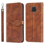For Xiaomi Poco M2 Pro Life of Tree Embossing Pattern Horizontal Flip Leather Case with Holder & Card Slot & Wallet & Photo Frame & Lanyard(Brown)