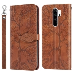 For Xiaomi Redmi 9 Life of Tree Embossing Pattern Horizontal Flip Leather Case with Holder & Card Slot & Wallet & Photo Frame & Lanyard(Brown)