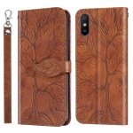 For Xiaomi Redmi 9A Life of Tree Embossing Pattern Horizontal Flip Leather Case with Holder & Card Slot & Wallet & Photo Frame & Lanyard(Brown)