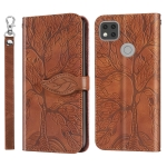 For Xiaomi Redmi 9C Life of Tree Embossing Pattern Horizontal Flip Leather Case with Holder & Card Slot & Wallet & Photo Frame & Lanyard(Brown)