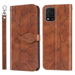 For Xiaomi Mi 10 Lite 5G Life of Tree Embossing Pattern Horizontal Flip Leather Case with Holder & Card Slot & Wallet & Photo Frame & Lanyard(Brown)