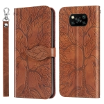 For Xiaomi Poco X3 Life of Tree Embossing Pattern Horizontal Flip Leather Case with Holder & Card Slot & Wallet & Photo Frame & Lanyard(Brown)
