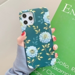 Retro Flowers Pattern Shockproof TPU Protective Case For iPhone 12 / 12 Pro(Dark Green)