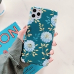 Leaves and Flowers Pattern Shockproof TPU Protective Case For iPhone 11 Pro Max(Dark Green)