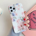 Leaves and Flowers Pattern Shockproof TPU Protective Case For iPhone 12 mini(Pink+Blue)