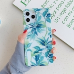Leaves and Flowers Pattern Shockproof TPU Protective Case For iPhone 12 / 12 Pro(Green)