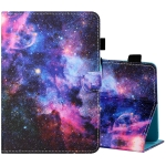 For 8 inch Tablet PC Universal Sewing Thread Horizontal Painted Flat Leather Case with Pen Cover & Anti Skid Strip & Card Slot & Holder(Starry Sky)