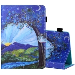For 8 inch Tablet PC Universal Sewing Thread Horizontal Painted Flat Leather Case with Pen Cover & Anti Skid Strip & Card Slot & Holder(Sunrise With Tree)