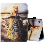 For Amazon Kindle Fire 7 2019 / 2017 / 2015 Sewing Thread Horizontal Painted Flat Leather Case with Pen Cover & Anti Skid Strip & Card Slot & Holder(Cat And Tiger)
