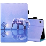 For Amazon Kindle Fire 7 2019 / 2017 / 2015 Sewing Thread Horizontal Painted Flat Leather Case with Pen Cover & Anti Skid Strip & Card Slot & Holder(Tree And Elephant)