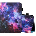 For Amazon Kindle Fire 7 2019 / 2017 / 2015 Sewing Thread Horizontal Painted Flat Leather Case with Pen Cover & Anti Skid Strip & Card Slot & Holder(Starry Sky)