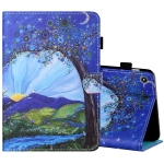 For Amazon Kindle Fire 7 2019 / 2017 / 2015 Sewing Thread Horizontal Painted Flat Leather Case with Pen Cover & Anti Skid Strip & Card Slot & Holder(Sunrise With Tree)