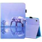 For Samsung Galaxy Tab A 8.0 (2019) T290 / T295 Sewing Thread Horizontal Painted Flat Leather Case with Pen Cover & Anti Skid Strip & Card Slot & Holder(Tree And Elephant)