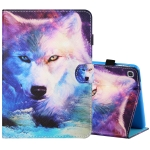 For Samsung Galaxy Tab A 8.0 (2019) T290 / T295 Sewing Thread Horizontal Painted Flat Leather Case with Pen Cover & Anti Skid Strip & Card Slot & Holder(Wolf)