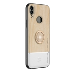 For Samsung Galaxy A10s Wood Grain PC + TPU Shockproof Protective Case with Ring Holder(Wood Color)
