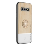 For Samsung Galaxy S10+ Wood Grain PC + TPU Shockproof Protective Case with Ring Holder(Wood Color)