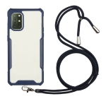 For OnePlus 8T Acrylic + Color TPU Shockproof Case with Neck Lanyard(Dark Blue)