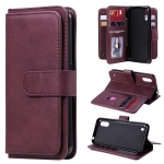 For Samsung Galaxy M01 Multifunctional Magnetic Copper Buckle Horizontal Flip Solid Color Leather Case with 10 Card Slots & Wallet & Holder & Photo Frame(Wine Red)