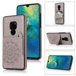 For Huawei Mate 20 Embossed Pattern PU + TPU Protective Case with Holder & Wallet & Card Slots(Grey)