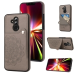 For Huawei Mate 20 Lite Embossed Pattern PU + TPU Protective Case with Holder & Wallet & Card Slots(Grey)