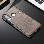 For Huawei P30 Lite Embossed Pattern PU + TPU Protective Case with Holder & Wallet & Card Slots(Grey)