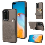For Huawei P40 Embossed Pattern PU + TPU Protective Case with Holder & Wallet & Card Slots(Grey)