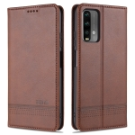 For Xiaomi Redmi Note 9 AZNS Magnetic Calf Texture Horizontal Flip Leather Case with Card Slots & Holder & Wallet(Dark Brown)