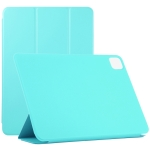For iPad Pro 12.9 inch(2020) Horizontal Flip Ultra-thin Double-sided Clip Non-buckle Magnetic PU Leather Case With Three-folding Holder & Sleep / Wake-up Function(Sky Blue)