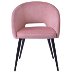 [UK Warehouse] Velvet Armchair Dining Chairs with Armrests & Backrest & Steel Legs(Pink)