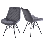 [UK Warehouse] 2 PCS Velvet Dining Chair Bedroom Chairs with High Backrest & Steel Legs