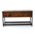 [US Warehouse] 2 Layer Wooden Iron Frame Shoe Changing Storage Stool