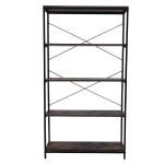 [US Warehouse] 5 Tier Widened Industrial Shelf Bookcase, Size: 81.3×30.5x146cm