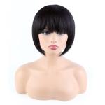 Toocci Ladies Black Bangs Short Hair Bob Wig 8 inch Natural Closed Wig