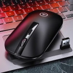 YINDIAO A8 2.4GHz 1600DPI 3-modes Adjustable Rechargeable Wireless Silent Mouse (Black)