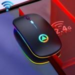 YINDIAO A2 BT3.0 + BT5.0 + 2.4GHz 1600DPI 3-modes Adjustable RGB Light Wireless Silent Bluetooth Mouse (Black)