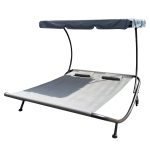 [US Warehouse] Outdoor Portable Double Chaise Lounge Hammock Bed With Adjustable Canopy & Headrest Pillow