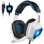 SADES WOLF SPIRIT 7.1 USB 7.1 Channel Wired Adjustable Gaming Headphone with Breathing Light & Hidden Microphone, Length: 2m(White Blue)