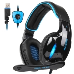 SADES SA-902 7.1 Channel Wire-controlled Gaming Headset with Breathing Light & Hidden Microphone, Cable Length: 3m(Black Blue)