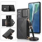 For Samsung Galaxy Note20 Multi-functional Cross-body Card Bag TPU+PU Back Cover Case with Holder & Card Slot & Wallet(Black)