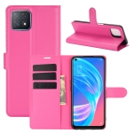 For OPPO A72 / A73 5G Litchi Texture Horizontal Flip Protective Case with Holder & Card Slots & Wallet(Rose Red)