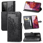 For Samsung Galaxy S30 Ultra Mandala Flower Embossed Horizontal Flip Leather Case with Holder & Three Card Slots & Wallet & Lanyard(Black)