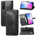 For vivo Y73S 5G Mandala Flower Embossed Horizontal Flip Leather Case with Holder & Three Card Slots & Wallet & Lanyard(Black)