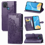 For OPPO A15 Mandala Flower Embossed Horizontal Flip Leather Case with Holder & Three Card Slots & Wallet & Lanyard(Purple)