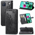 For LG K92 5G Mandala Flower Embossed Horizontal Flip Leather Case with Holder & Three Card Slots & Wallet & Lanyard(Black)
