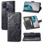 For OnePlus Nord N10 5G Butterfly Love Flower Embossed Horizontal Flip Leather Case with Bracket / Card Slot / Wallet / Lanyard(Black)